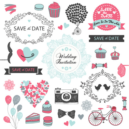 set of vector vintage, hand drawn wedding invitation design elements
