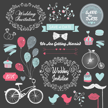 bycicle: vector set wedding vintage hand drawn invitation, card design elements on the blackboard