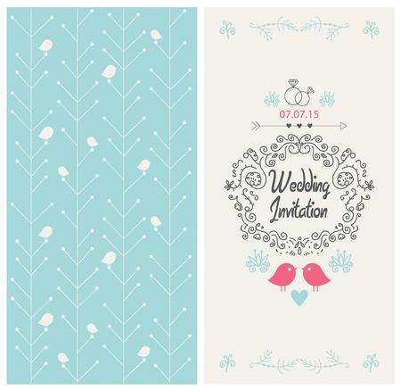 vector vintage Hochzeitseinladungsentwurf Karte mit Vögeln