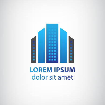 construction signs: vector blue vertical abstract office building icon, apartment icon with windows isolated Illustration