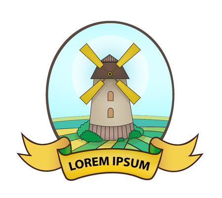 agro: vector agricultural village mill icon, icon, sign with ribbon, badge Illustration