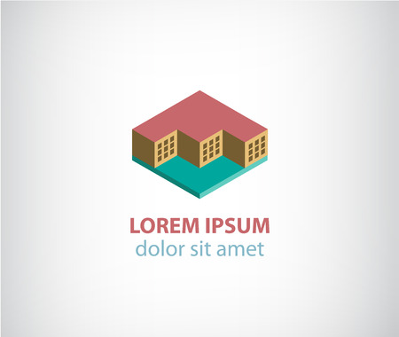 construction companies: vector 3d cubes building apartment icon, icon isolated