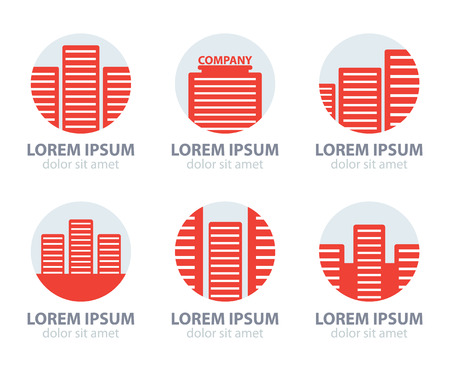 commercial construction: set of vector office building,  red apartment icons, icon in circles