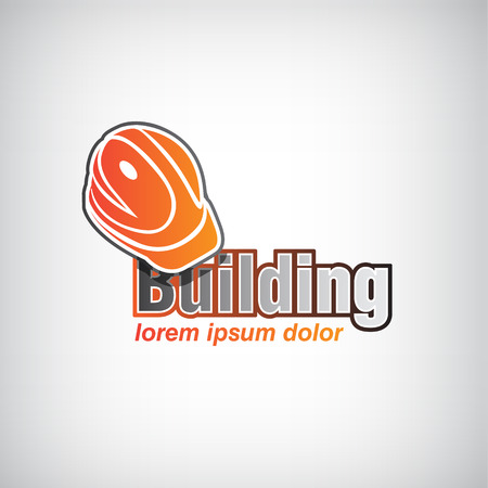 construction signs: vector building icon, icon for company with helmet isolated