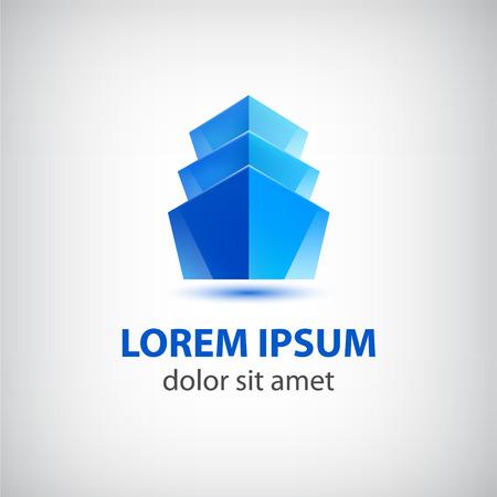 logotipo de construccion: 3d icono azul edificio de oficinas vector, logotipo aislado Vectores