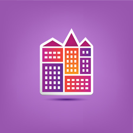 bulding: vector building icon, city, houses composition with shadow