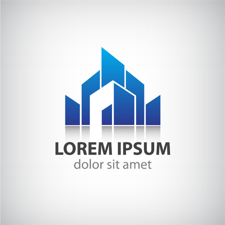 contemporary house: vector abstract blue icon