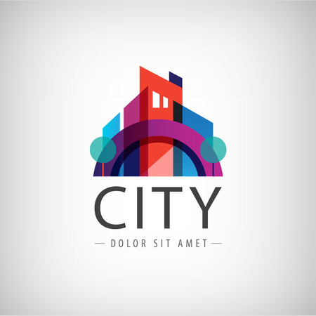 contemporary house: vector abstract colorful city, building composition sign, icon