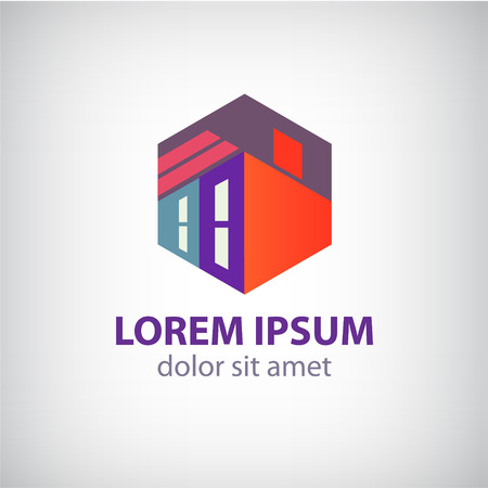 exterior element: vector house, abstract building construction icon