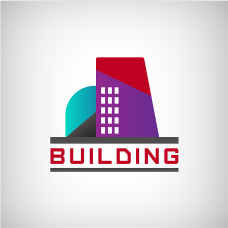 commercial construction: vector building colorful construction isolated, city