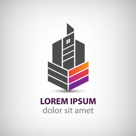 logo batiment: vecteur construction de b�timents cr�ative, ruban maison logo pour votre entreprise isol�e