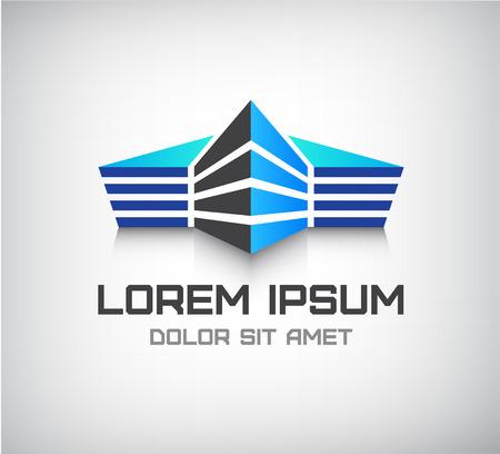 logo batiment: vecteur 3d immeuble de bureaux géométrique, maison icône, logo