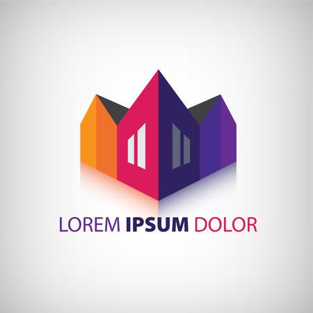 logo batiment: vecteur maisons 3d ic�ne, logo de l'entreprise, b�timents isol�s Illustration