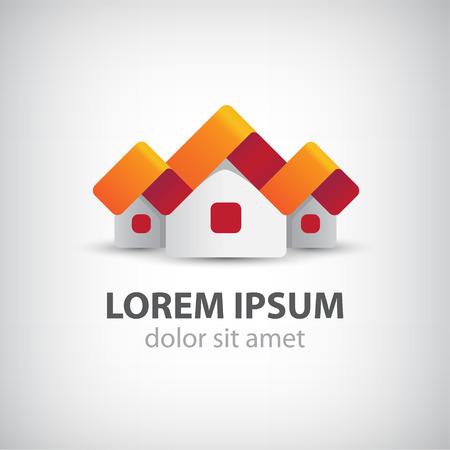 logotipo de construccion: vector 3d casas icono origami papel, cinta, logotipo aislado Vectores