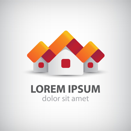 town modern home: vector 3d houses origami paper icon, ribbon, logo isolated