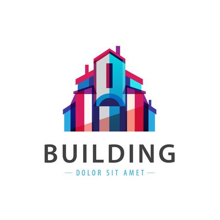 logotipo de construccion: edificio colorido vector, icono de la casa, logotipo de la empresa aislada Vectores