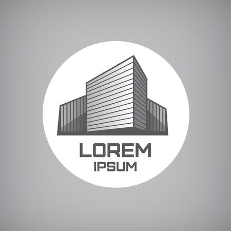 logotipo de construccion: vector 3d oficina se resumen realista logo edificio gris aislado en el c�rculo