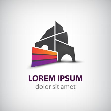 logotipo de construccion: edificio construcción creativo vector, cinta insignia de la casa para su empresa aislada