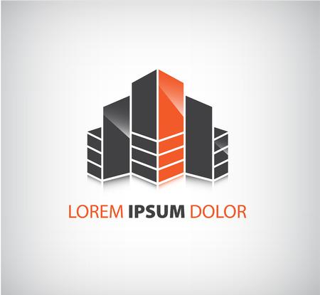 anuncio publicitario: vector icono builing oficina, aislado logotipo de la empresa, la identidad
