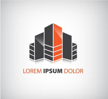 commercial building: vector office builing icon, company logo isolated, identity Illustration