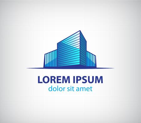 logo batiment: vecteur construction 3d immeuble, appartement, bureaux logo, icône isolé Illustration