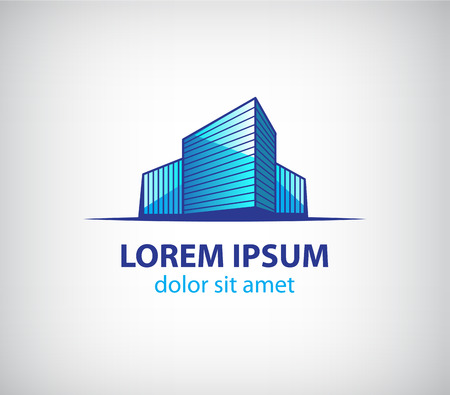 construction logo: vector 3d building construction, apartment, offices logo, icon isolated Illustration