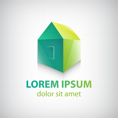 house logo: vector green house icon, logo for company isolated Illustration