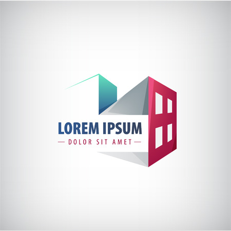 vector building icon, logo for the company isolated