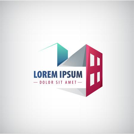 zakelijk: vector gebouw pictogram, logo voor het bedrijf geïsoleerd Stock Illustratie
