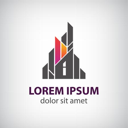 logotipo de construccion: edificio construcci�n creativo vector, cinta insignia de la casa para su empresa aislada