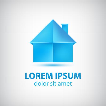 logo batiment: vecteur papier origami maison bleue ic�ne, isol� logo