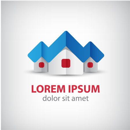 town house: vector 3d houses origami paper icon, ribbon, logo isolated