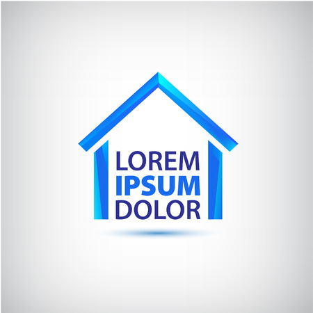 company building: vector blue house icon, logo for your company isolated