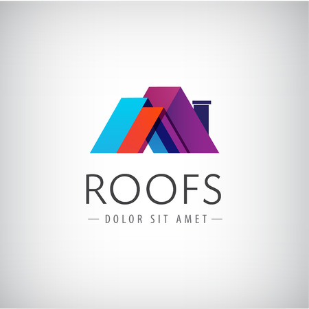 construction signs: vector roofs, house icon, colorful company logo isolated