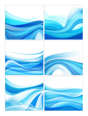 water stream: set of vector abstract blue wavy water stream backgrounds. You can use it for brochure, banner, business card, web design