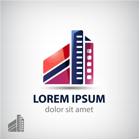 high rise: vector building shape, form icon isolated. Company house, property