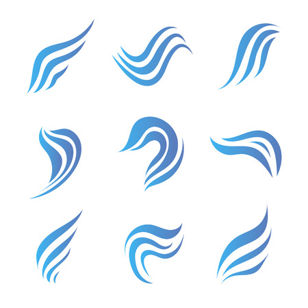 wings logos: vector set of flow water blue icons, logos isolated