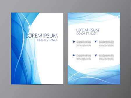 business plan: vector abstract modern wavy flowing blue flyer, brochure, cover design