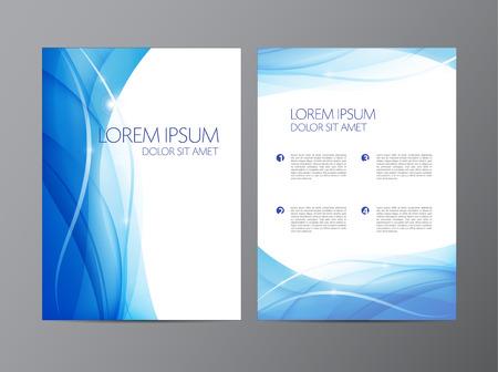 Wektor abstrakcyjna nowoczesne faliste płynącej niebieski ulotki, broszury, projekt okładki