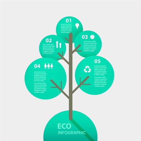 Vector signo árbol verde infografía. Plantilla para el diagrama, gráfico, presentación y gráfico. Concepto de Eco con opciones, partes, etapas o procesos. Resumen de antecedentes.