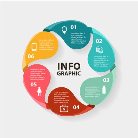 Infographies Vecteur de cercle. Modèle de diagramme, graphique, présentation et graphique. Business concept des options, des pièces, des mesures ou des procédés. Abstract background.