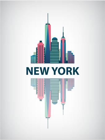 sky scrapers: New York city architecture retro vector illustration, skyline silhouette, skyscraper, flat design