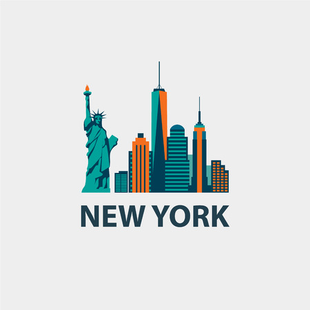 manhattan skyline: New York city architecture retro vector illustration, skyline silhouette, skyscraper, flat design