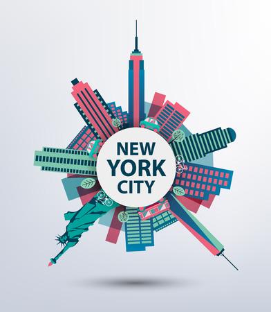 New York city architecture retro vector illustration, skyline silhouette, skyscraper, flat design. Round view
