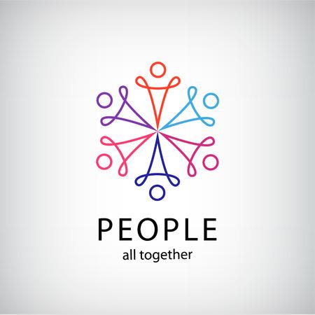 manos logo: el trabajo en equipo vector, red social, las personas junto icono, contorno insignia de la compa��a aislado