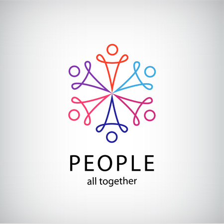 vector teamwork, social net, people together icon, company outline logo isolated Vettoriali