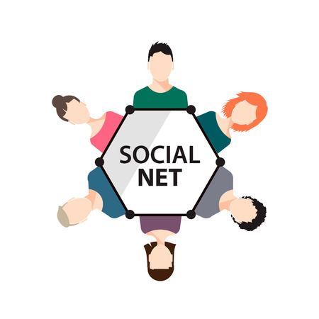 social net: vector teamwork, social net, people group, icon isolated, flat design