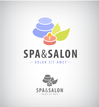 pedicure set: spa salon relax icon isolated. Burning candle, leaves, stones