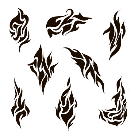 vector set of abstract silhouette tattoo, tribal icons isolated Vector