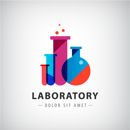 probeta: laboratorio vector, química, logotipo examen médico, icono. Diseño moderno de colores con bombillas, botellas